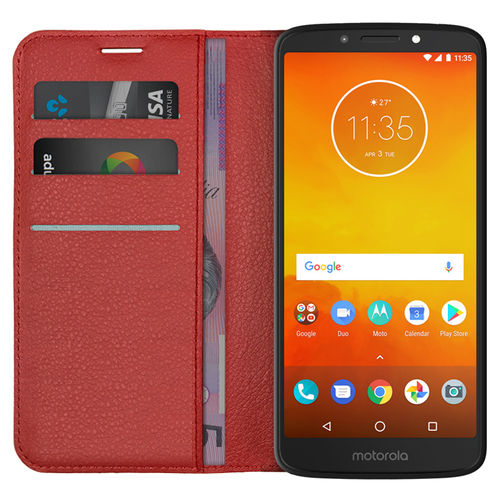 Leather Wallet Case & Card Holder - Motorola Moto E5 / G6 Play - Red